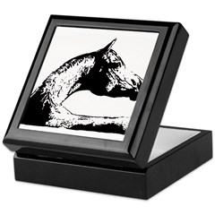 AFTM BW Arabian Horse Head Keepsake Box