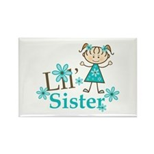 Little Sister Stick Figure Rectangle Magnet (10 pa