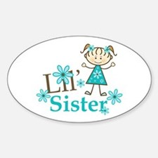 Little Sister Stick Figure Sticker (Oval)