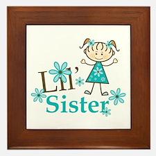 Little Sister Stick Figure Framed Tile