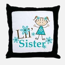 Little Sister Stick Figure Throw Pillow