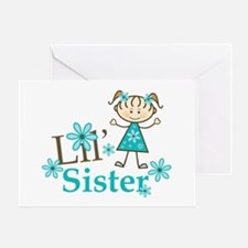 Little Sister Stick Figure Greeting Card