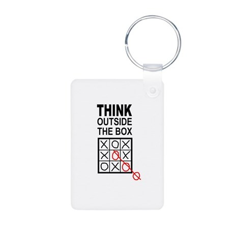 Think Outside the Box Aluminum Photo Keychain