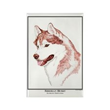 Red Siberian Husky Edition Rectangle Magnet