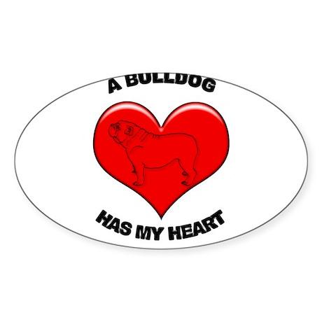 Bulldog heart Sticker (Oval)
