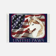 Siberian Husky US Flag Rectangle Magnet