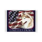 Siberian Husky US Flag Rectangle Magnet (10 pack)