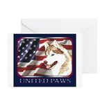 Siberian Husky US Flag Greeting Cards (Package of