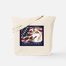 Siberian Husky US Flag Tote Bag