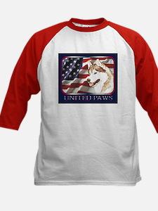 Siberian Husky US Flag Kids Baseball Jersey