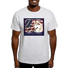 Siberian Husky US Flag Ash Grey T-Shirt