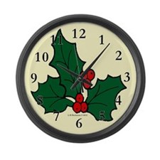 Holly Sprig Large Wall Clock