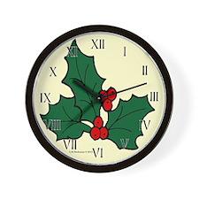 Holly Sprig Wall Clock