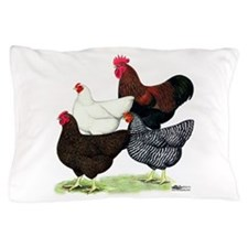Plymouth Rock Chickens Pillow Case
