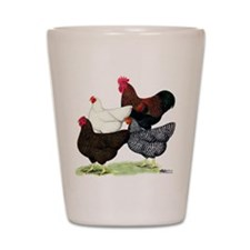 Plymouth Rock Chickens Shot Glass