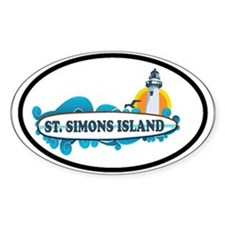St. Simons Island - Surf Design. Decal