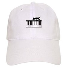 Cat and Piano v.1 Baseball Cap