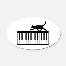 Cat and Piano v.1 Oval Car Magnet