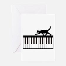 Cat and Piano v.1 Greeting Cards (Pk of 20)