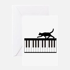 Cat and Piano v.1 Greeting Card