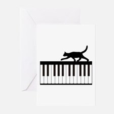 Cat and Piano v.1 Greeting Cards (Pk of 10)