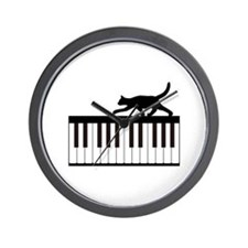 Cat and Piano v.1 Wall Clock