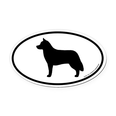 Siberian Husky Oval Car Magnet