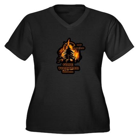 Wild Fire Women's Plus Size V-Neck Dark T-Shirt