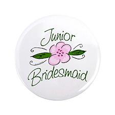 "Jr. Bridesmaid Pink Flower 3.5"" Button"