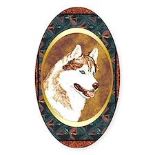 Siberian Husky Designer Oval Decal