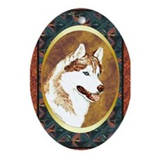 Siberian Husky Designer Oval Ornament