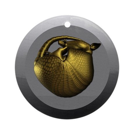 Sleeping Golden Armadillo Round Ornament