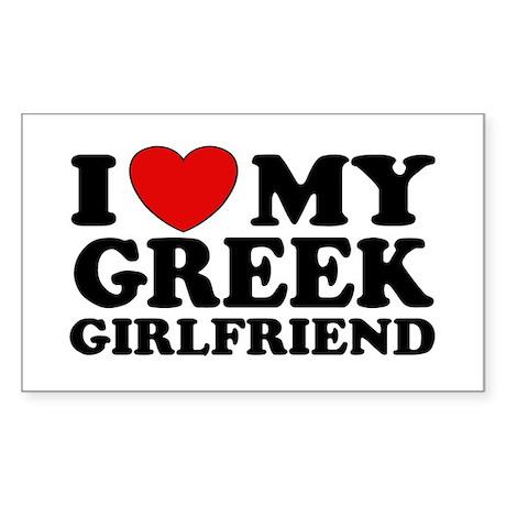 I love My Greek Girlfriend Rectangle Sticker