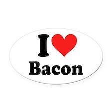 I Heart Bacon Oval Car Magnet
