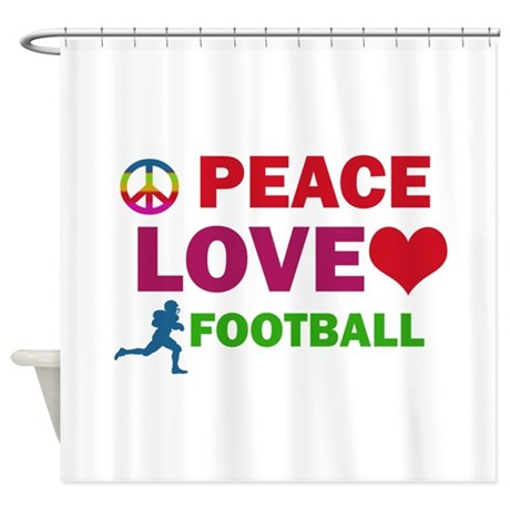 Peace Love Football Designs Shower Curtain
