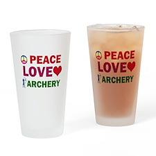 Peace Love Archery Designs Drinking Glass