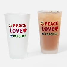 Peace Love Capoeira Designs Drinking Glass