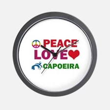 Peace Love Capoeira Designs Wall Clock