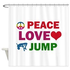 Peace Love Jump Designs Shower Curtain
