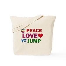 Peace Love Jump Designs Tote Bag