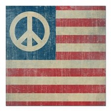 "Vintage Peace In America Square Car Magnet 3"" x 3"""