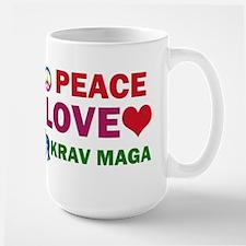 Peace Love Krav maga Designs Large Mug