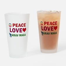 Peace Love Krav maga Designs Drinking Glass