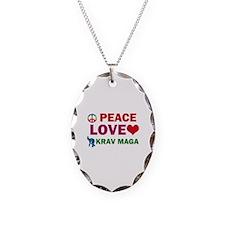 Peace Love Krav maga Designs Necklace