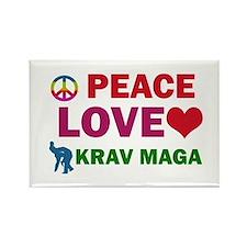Peace Love Krav maga Designs Rectangle Magnet