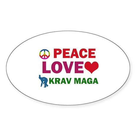 Peace Love Krav maga Designs Sticker (Oval 10 pk)