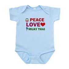 Peace Love Muay Thai Designs Infant Bodysuit
