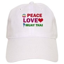 Peace Love Muay Thai Designs Baseball Cap