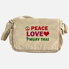 Peace Love Muay Thai Designs Messenger Bag