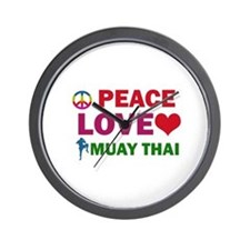 Peace Love Muay Thai Designs Wall Clock